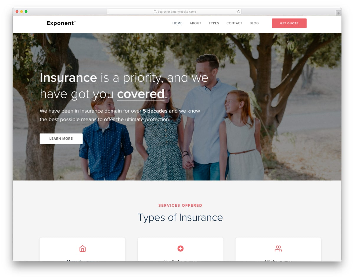 life and health insurance website template