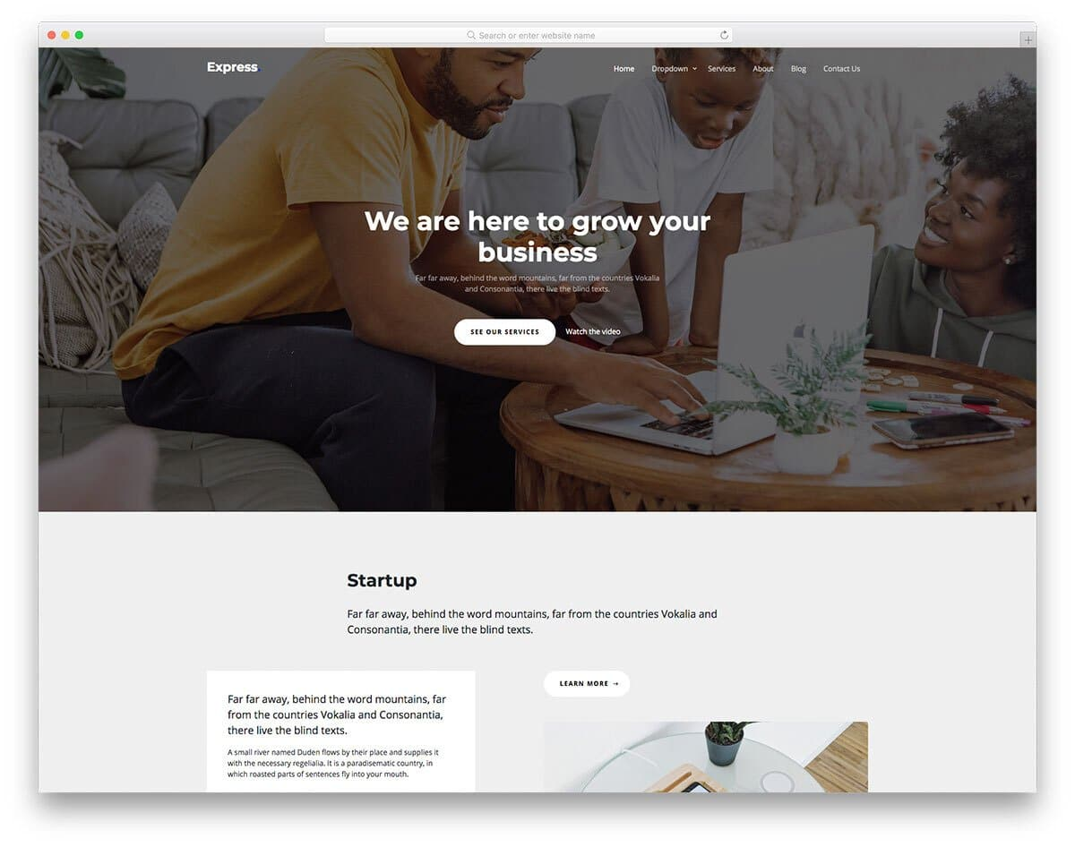product and services web template