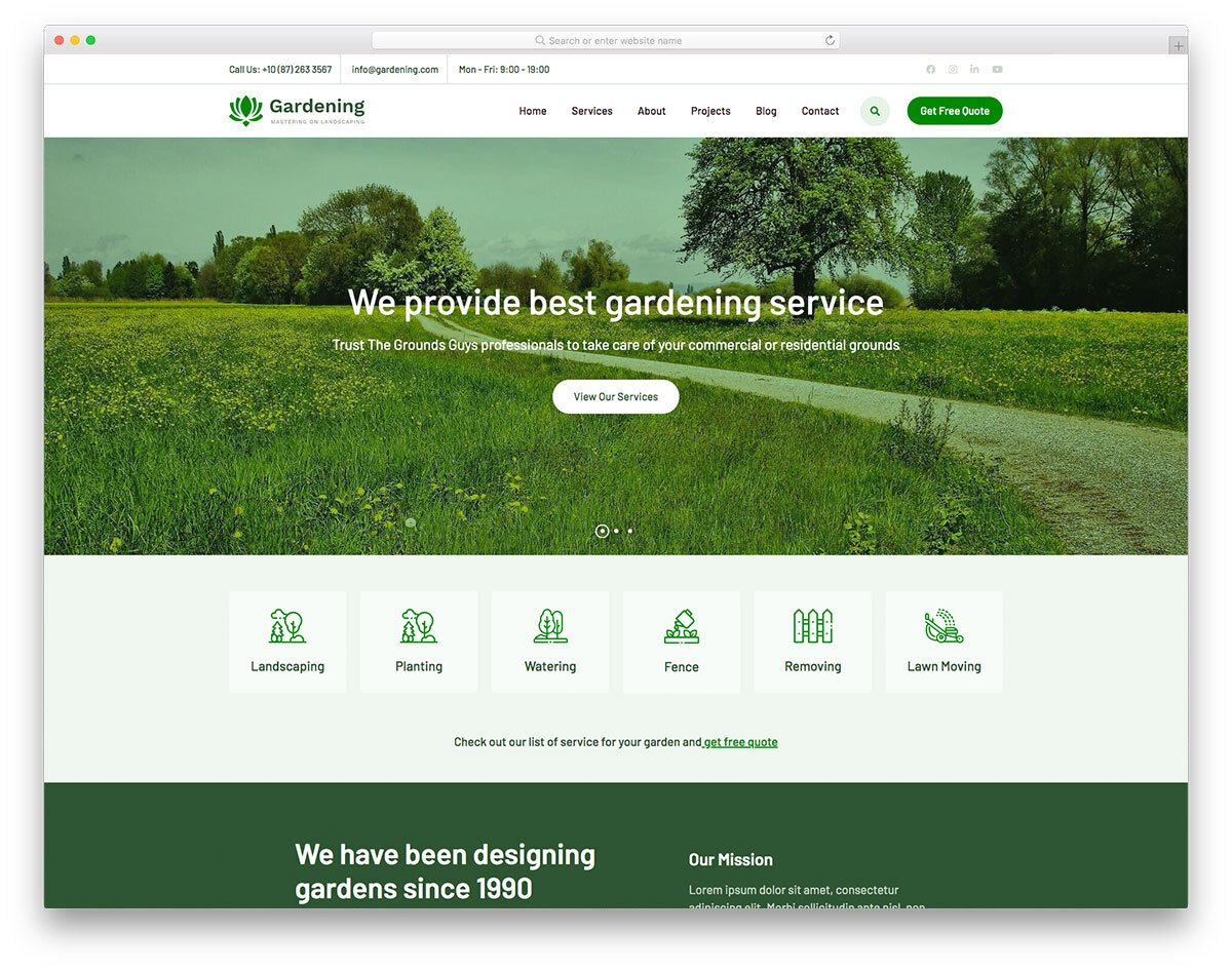 gardening services website template