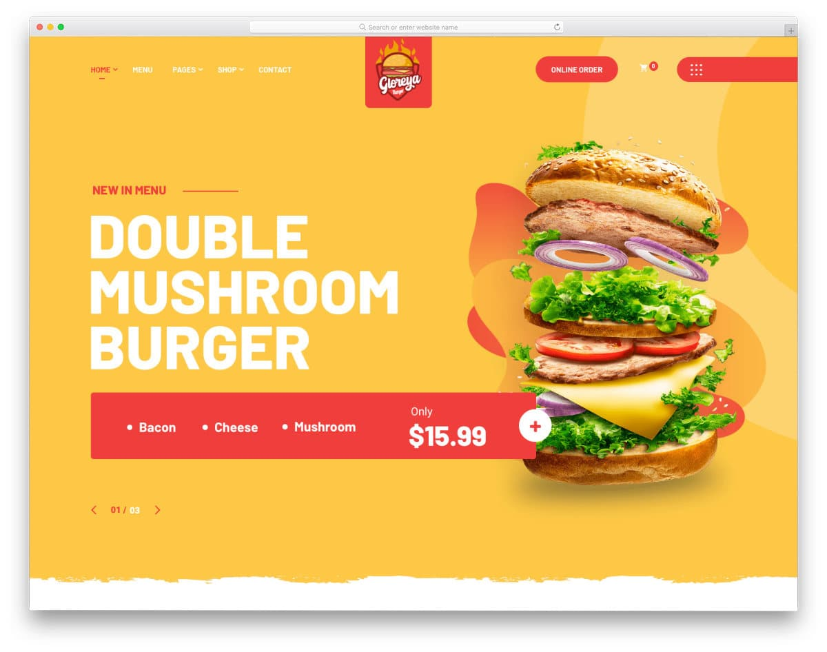 WordPress fast food template