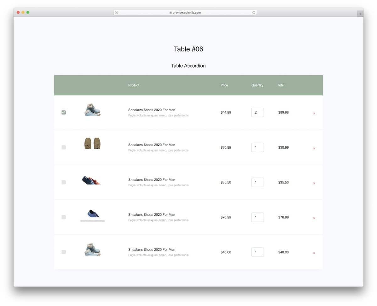 CSS table template for eCommerce stores