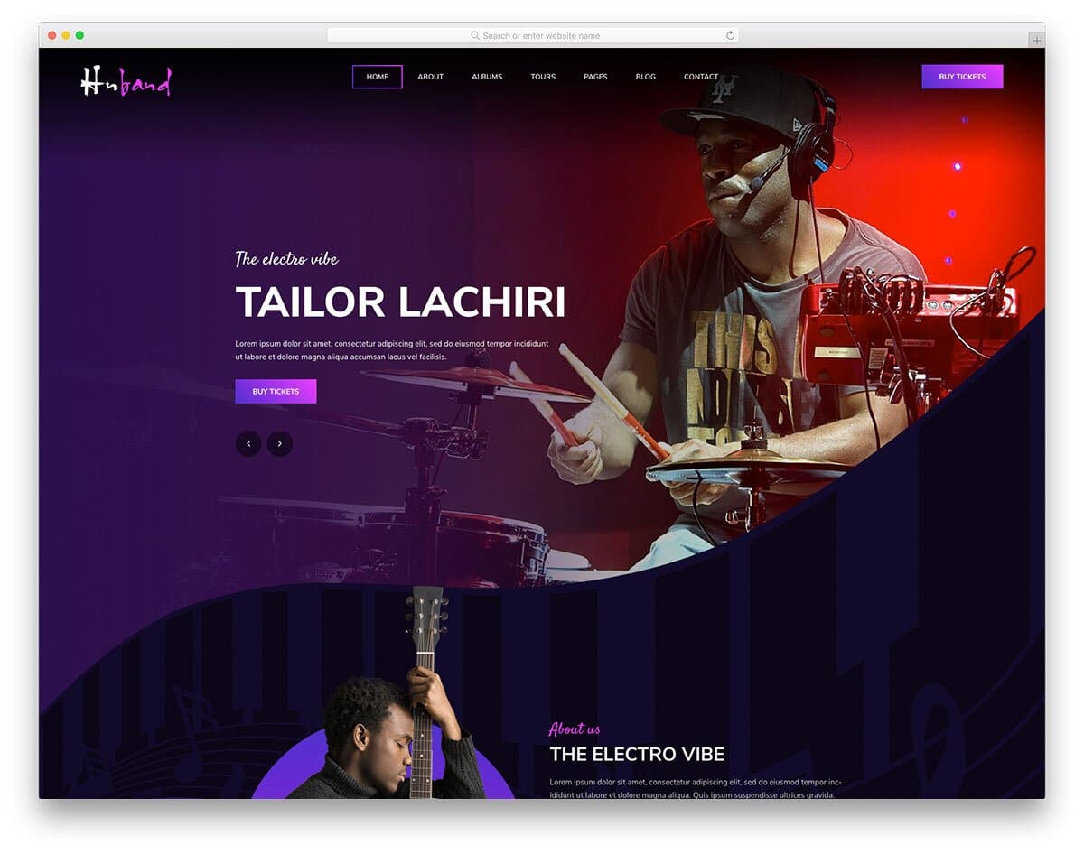 entertainment website template for music bands