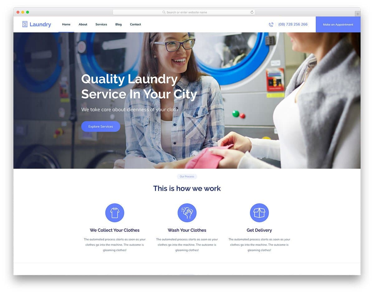 laundry and cleaning service website template
