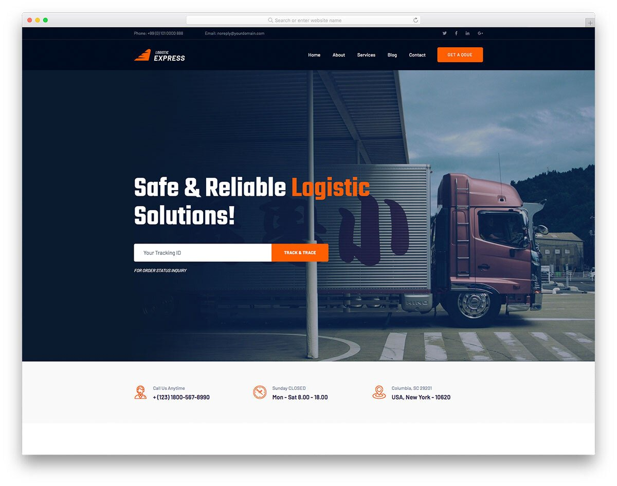 modern transportation website template with a bold look