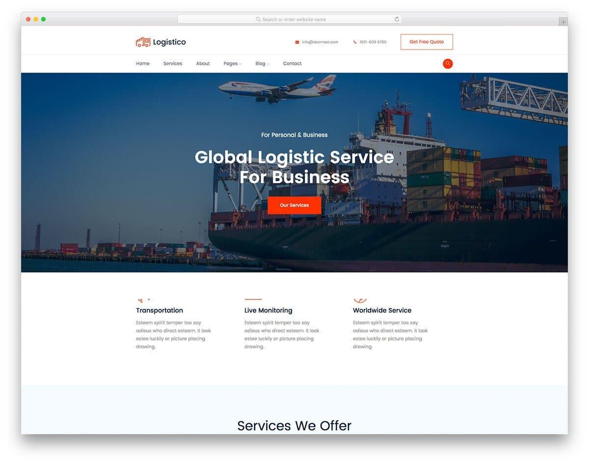 sensibly designed HTML transportation website template