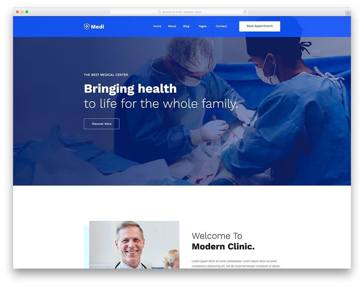 modern HTML medical landing page template
