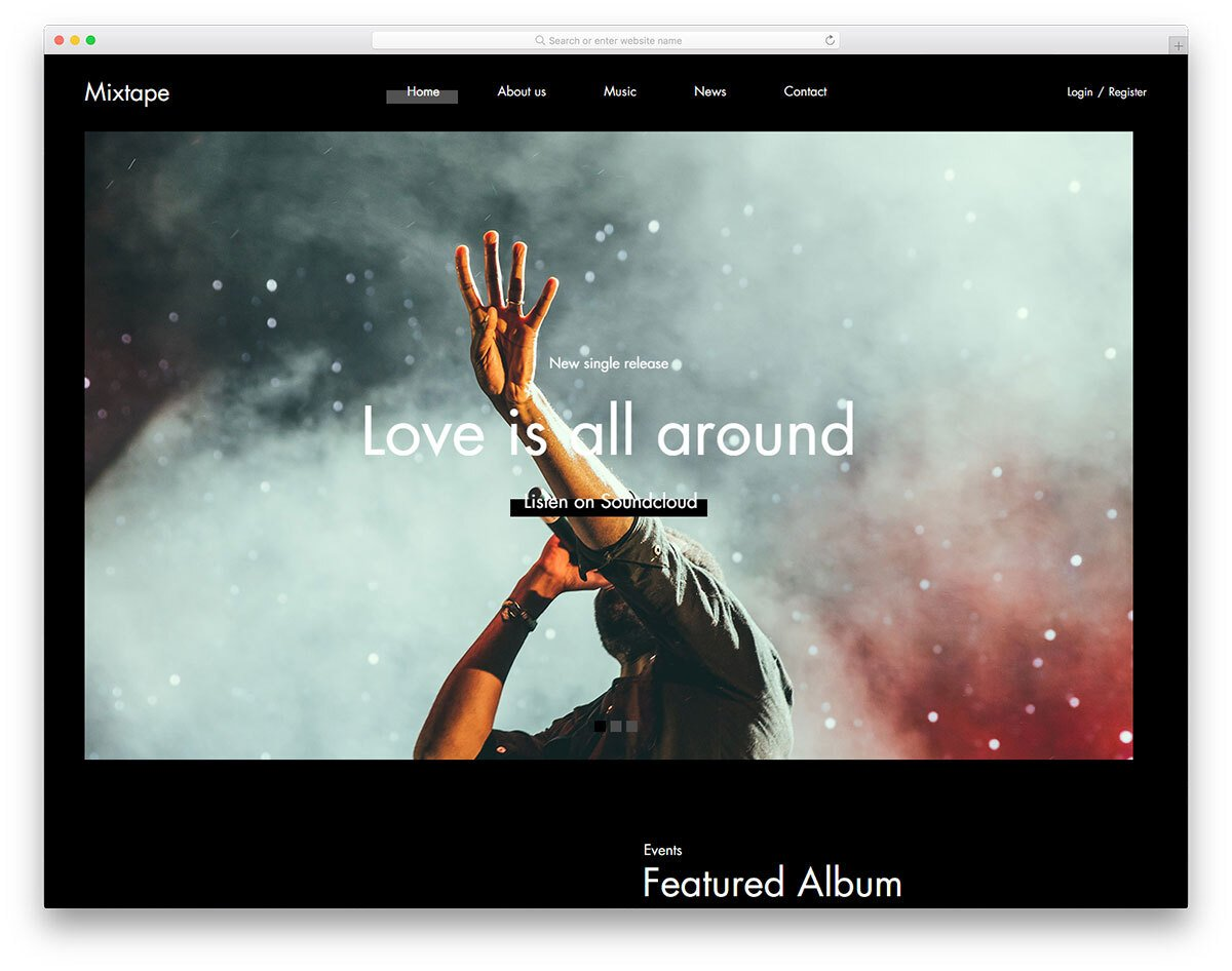 youthful entertainment website template for music websites