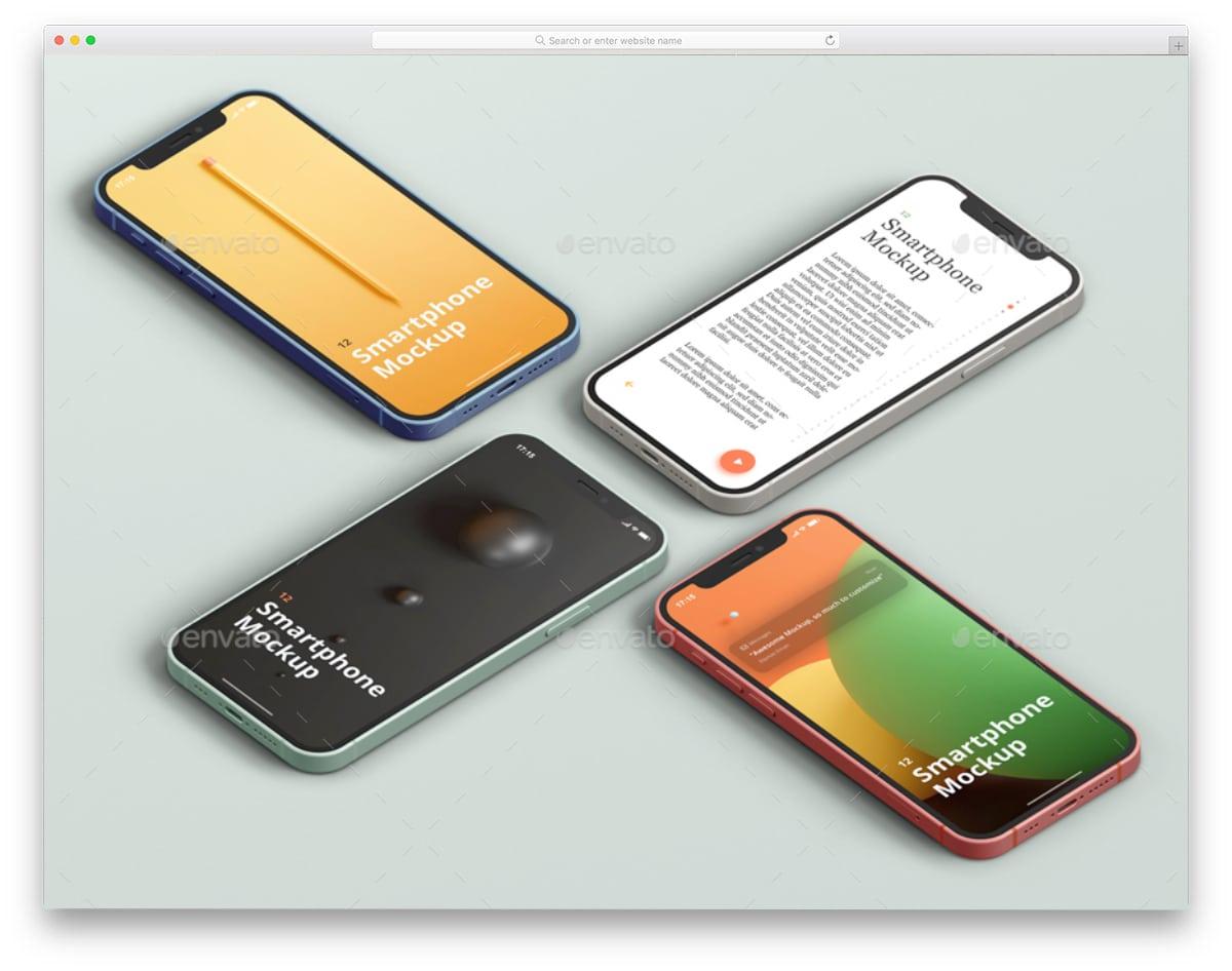 sixteen iPhone 12 PSD mockups