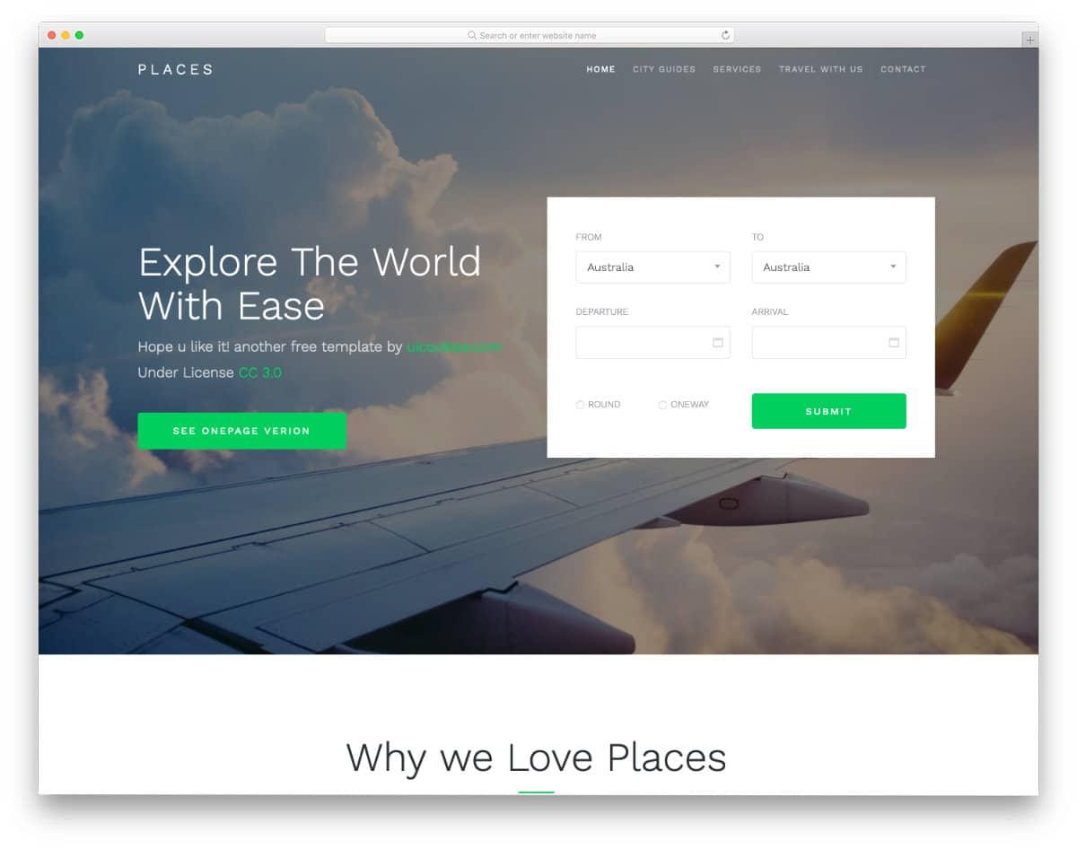 free responsive html5 website template for travel websites