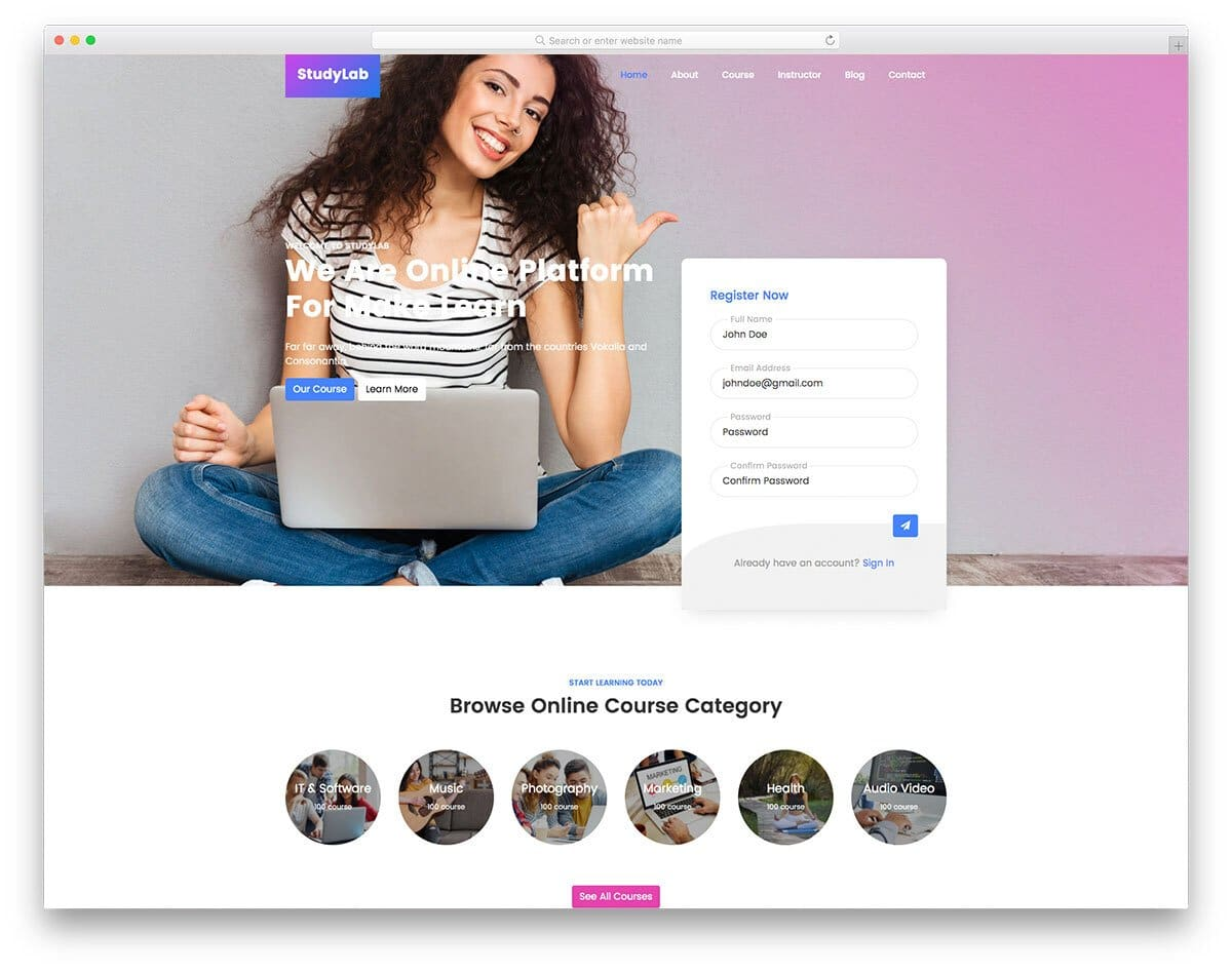 youthful bootstrap college template