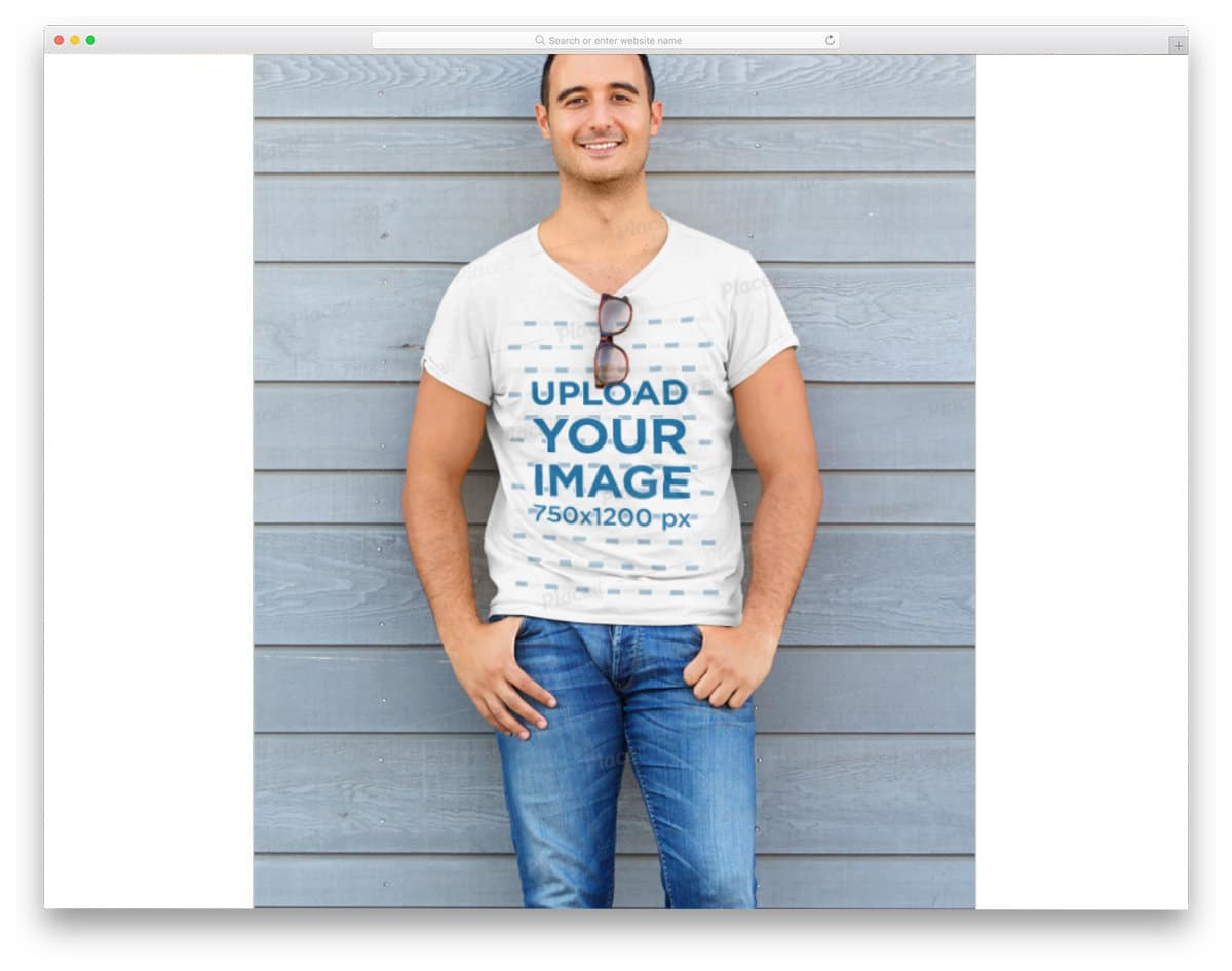 free t-shirt mockup with model