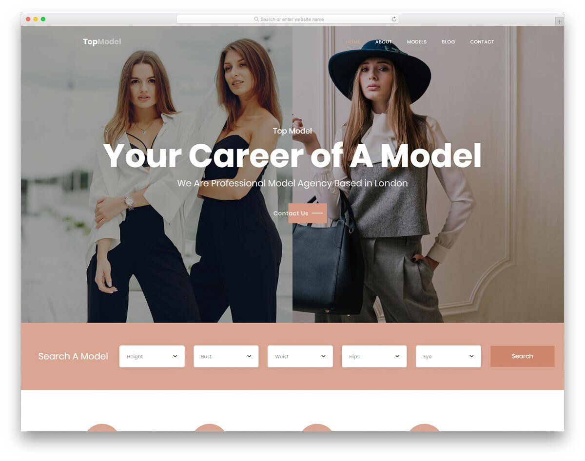 model and actor website template