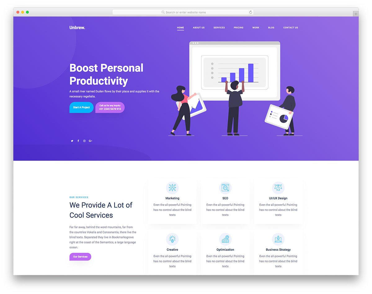 digital service provider and marketing services web template