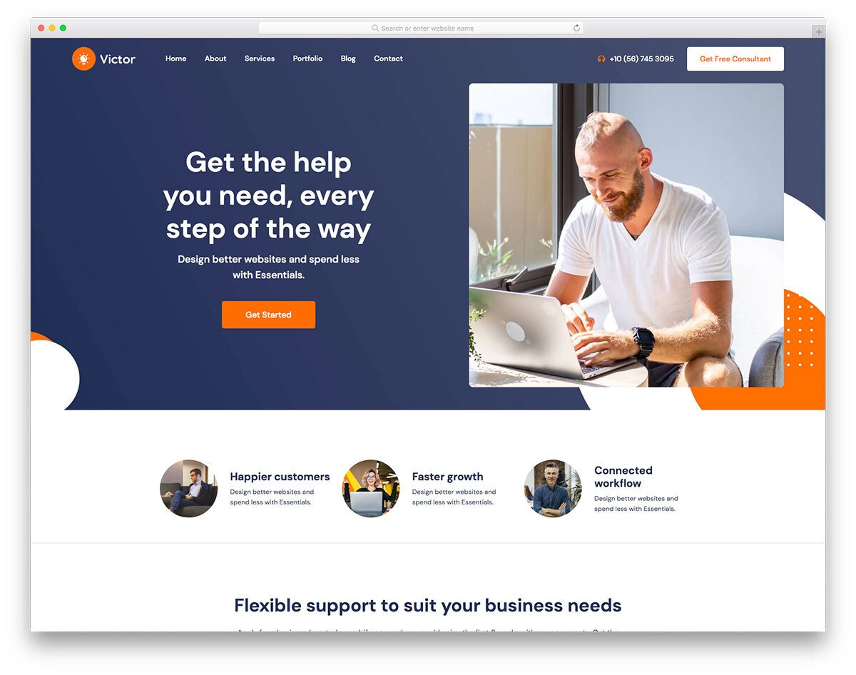 business services web template with bold design