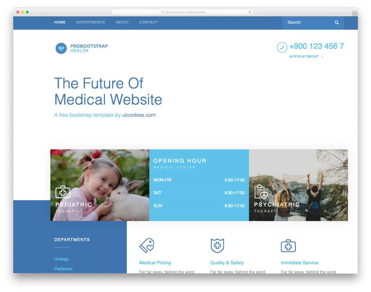 free healthcare website template