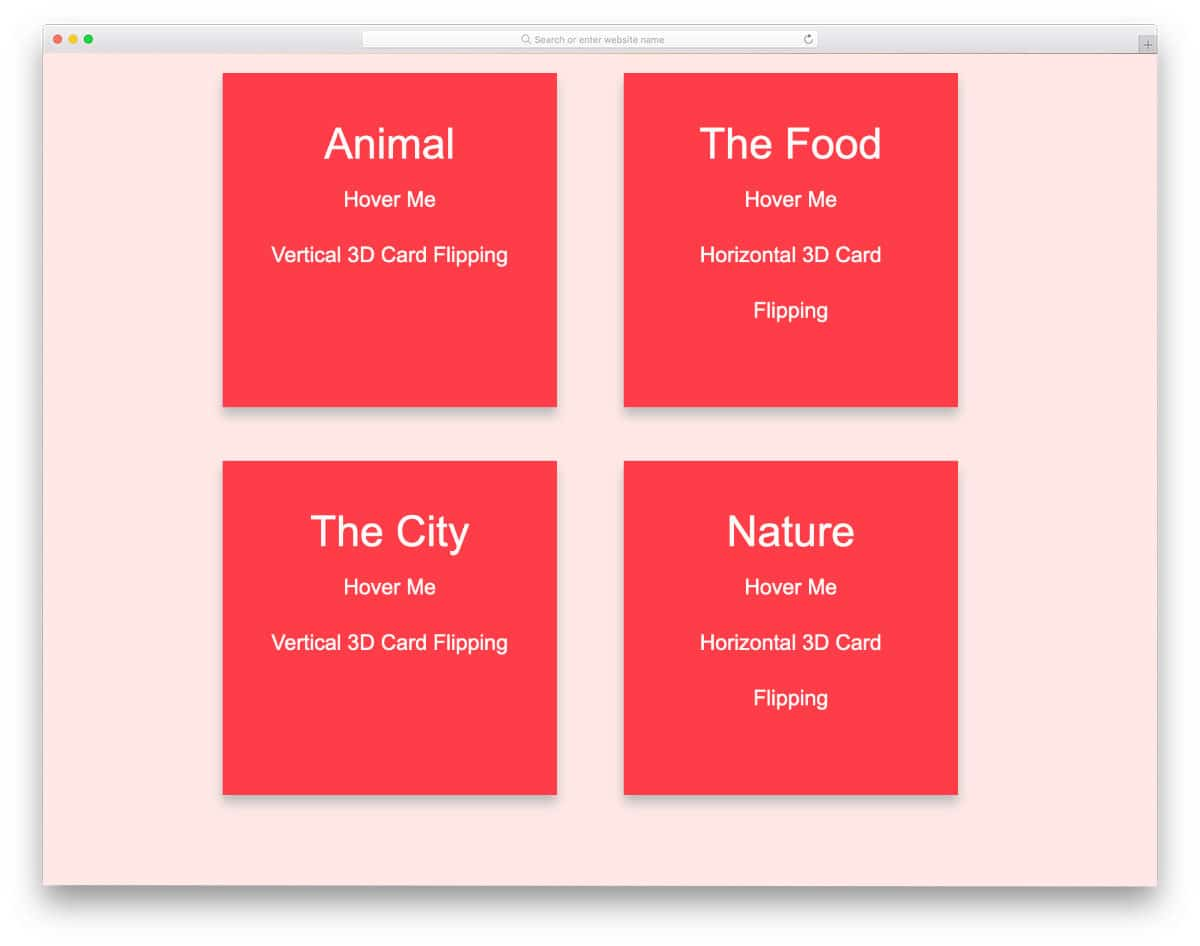 pure CSS 3D card flip example