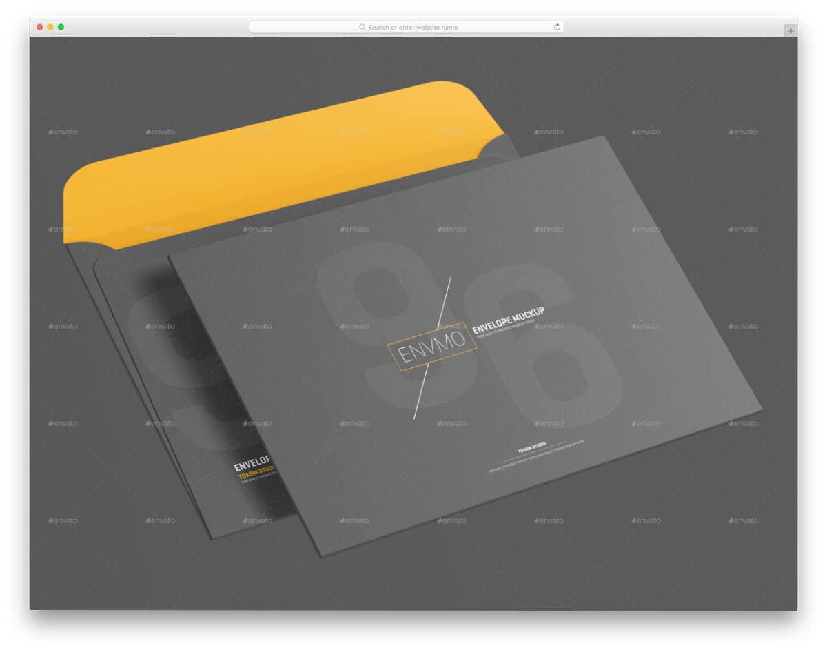 PSD envelope mockup with multiple views