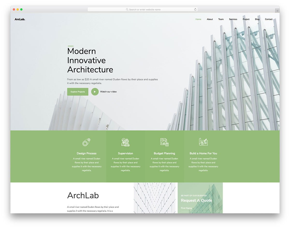 visually aesthetic construction and architect website template