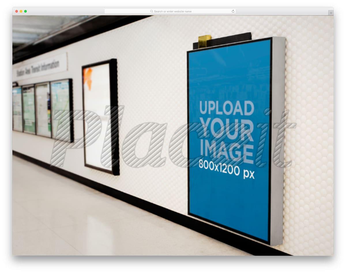 billboard in subway mockup generator