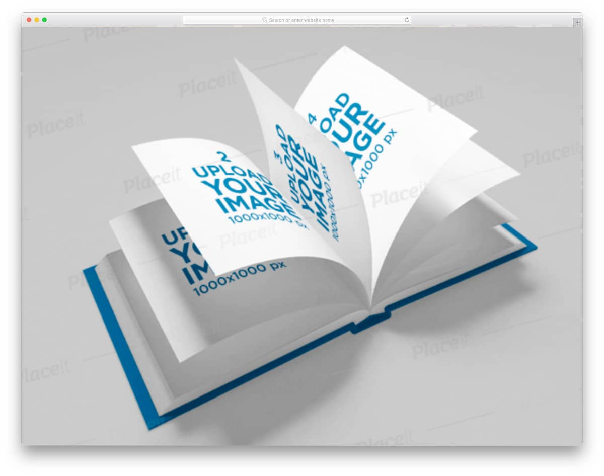 flying book pages mockup