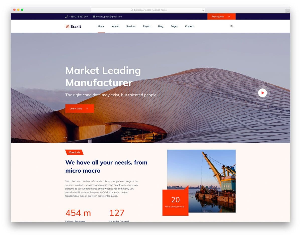construction website template for big companies