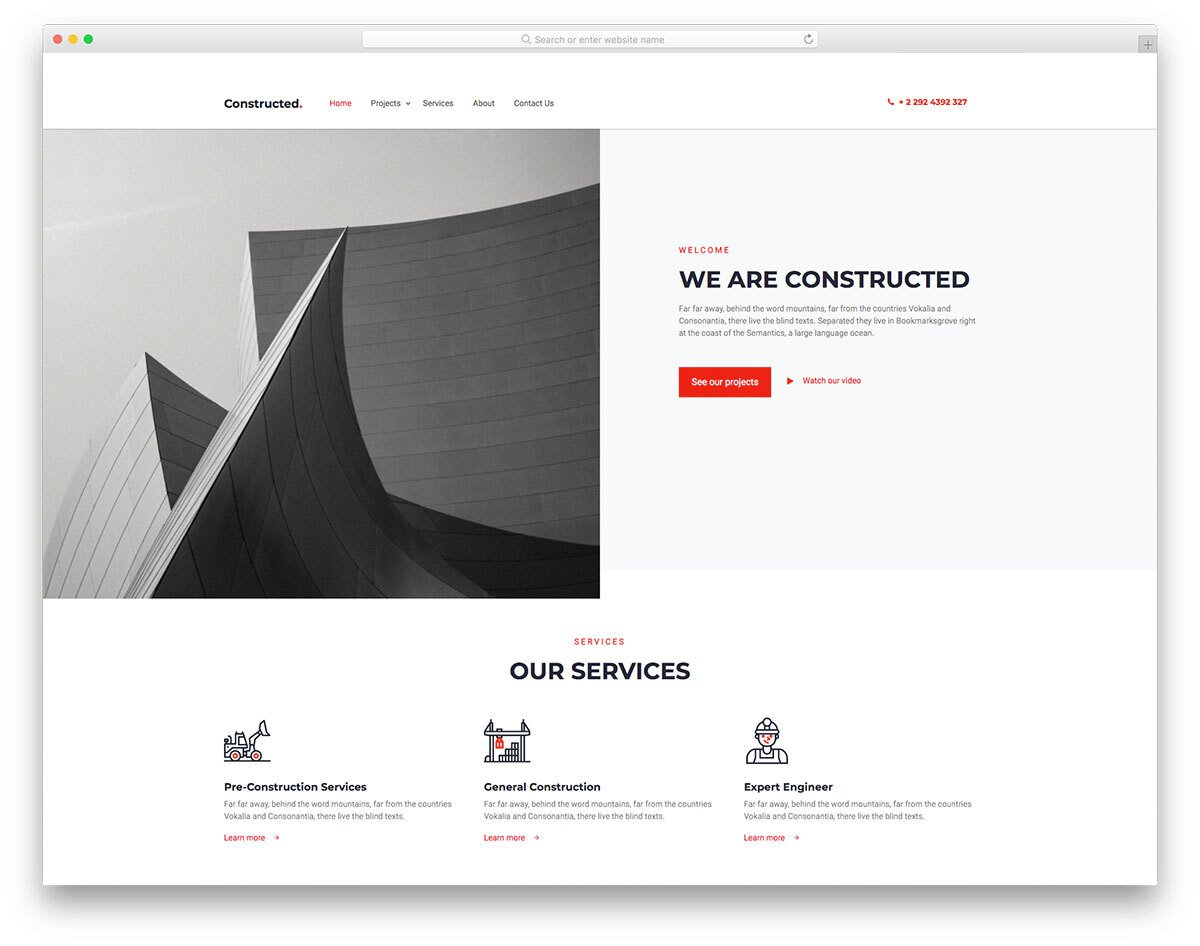 clean and sophisticated construction website template