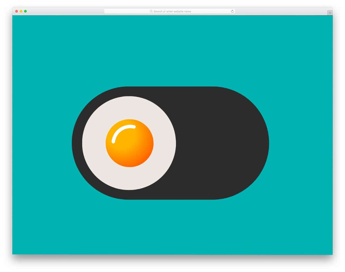 animated egg toggle button