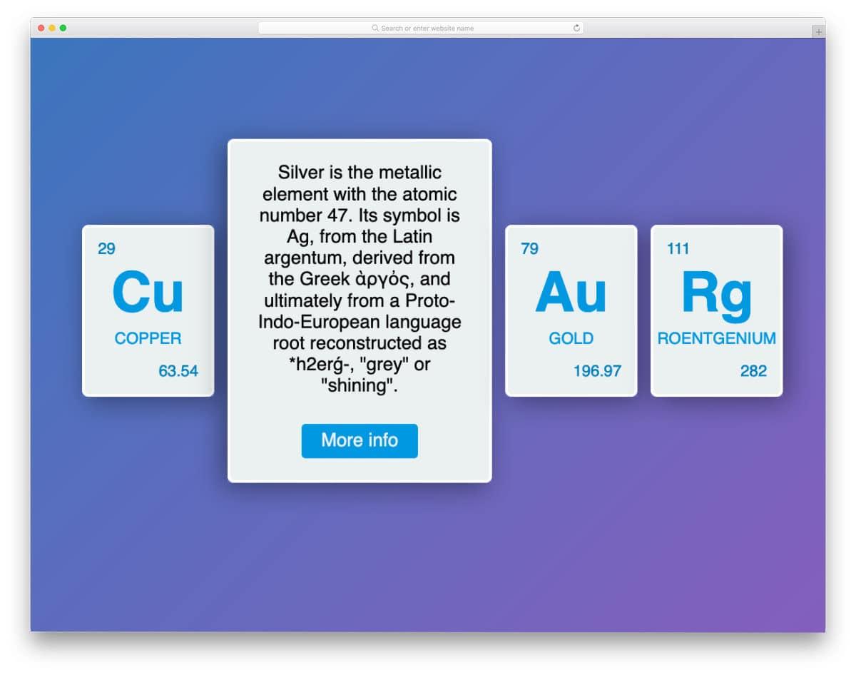 chemical element card design concept