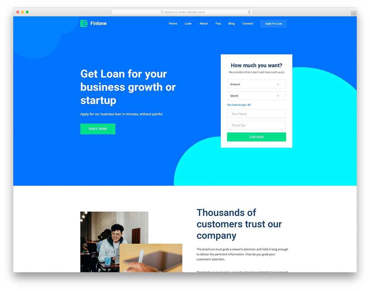 landing page template for financial websites