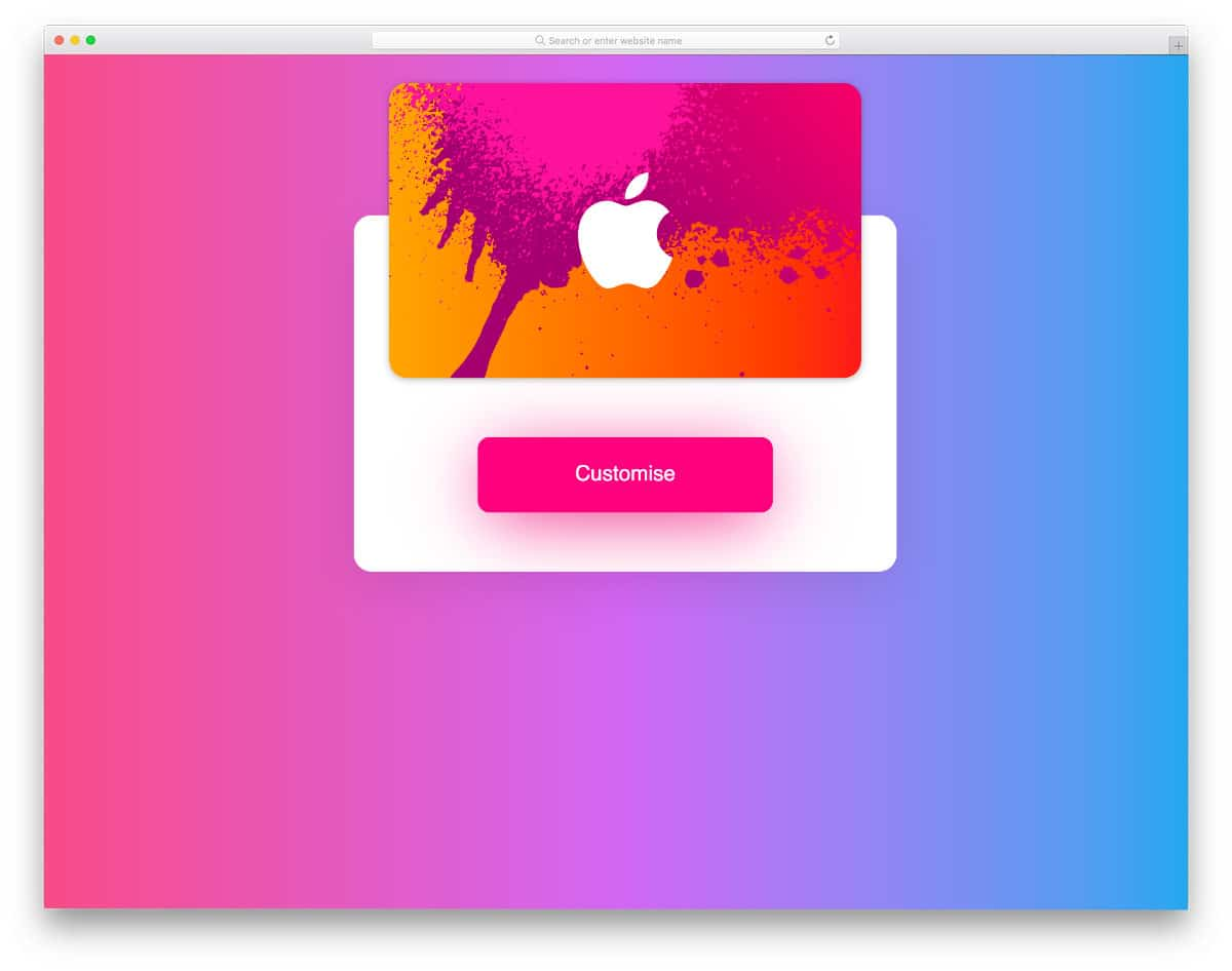 gift card CSS flip animation