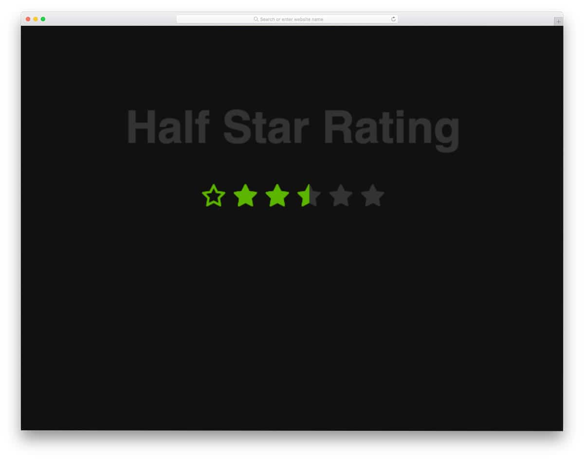 CSS half star rating