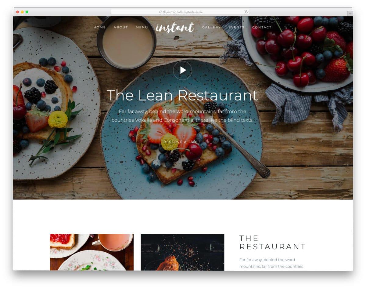 free HTML5 restaurant website template
