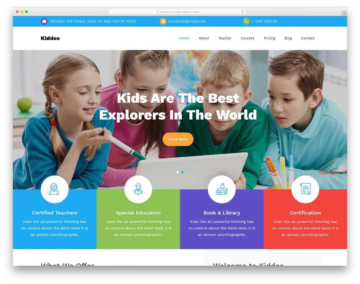 kids school website template for online courses