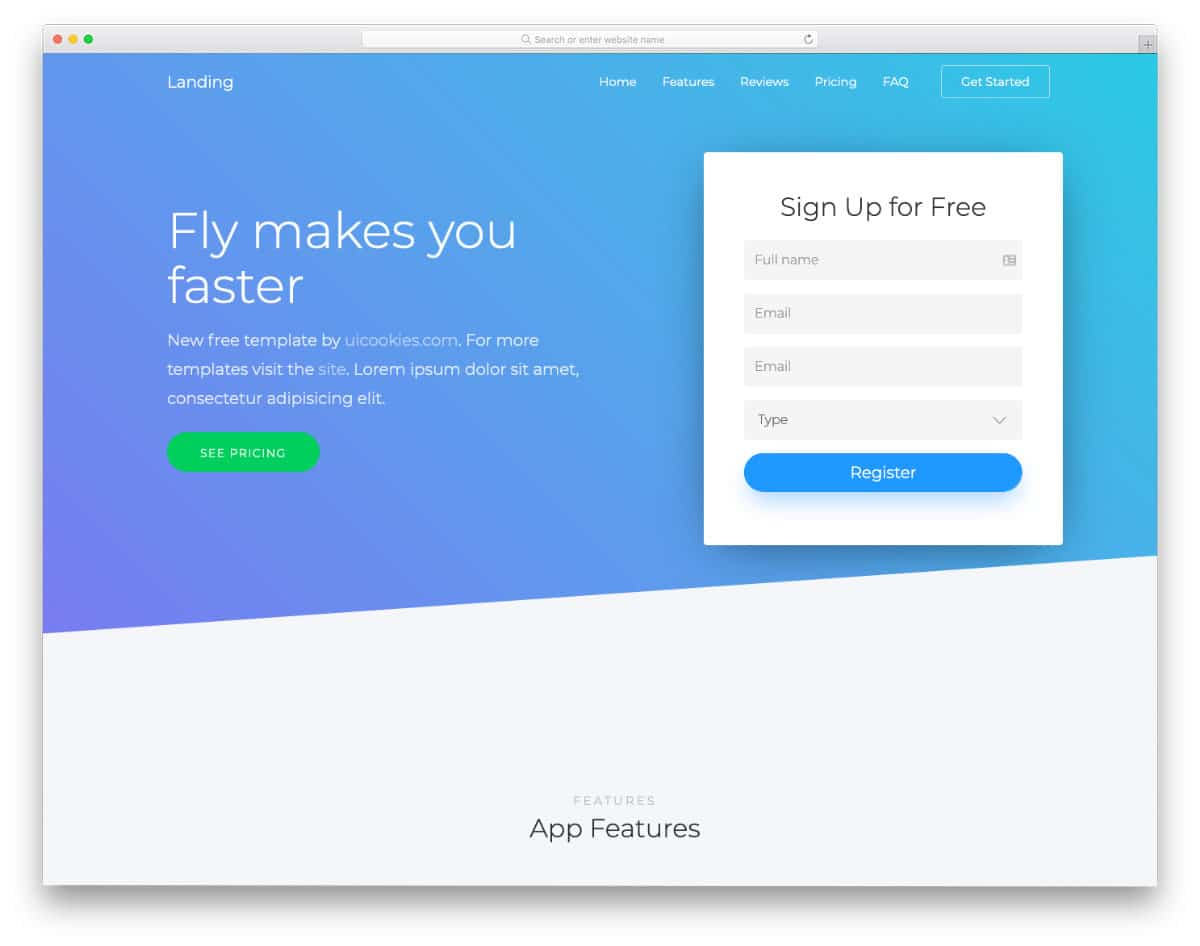 conversion-focused free one page website template