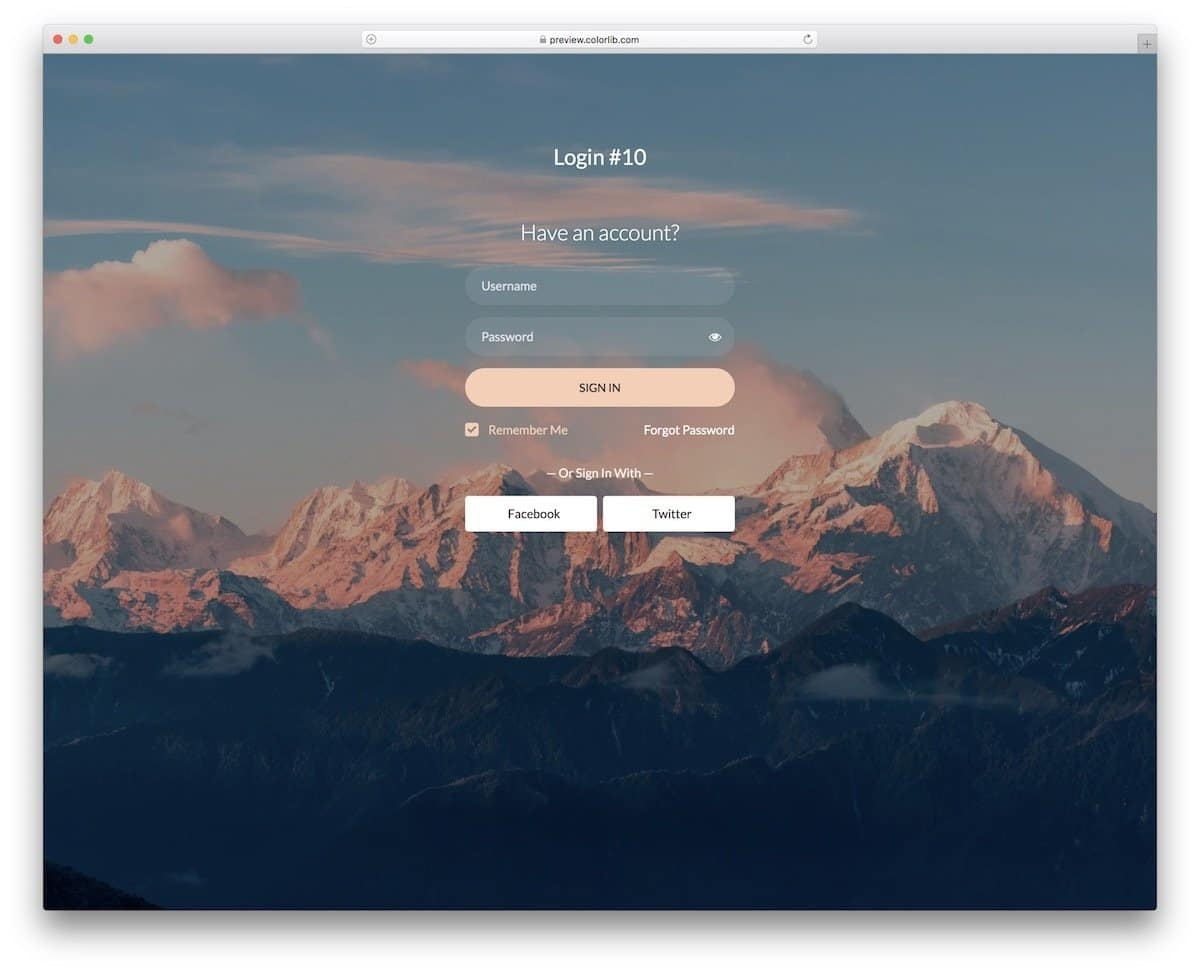 HTML form with image background