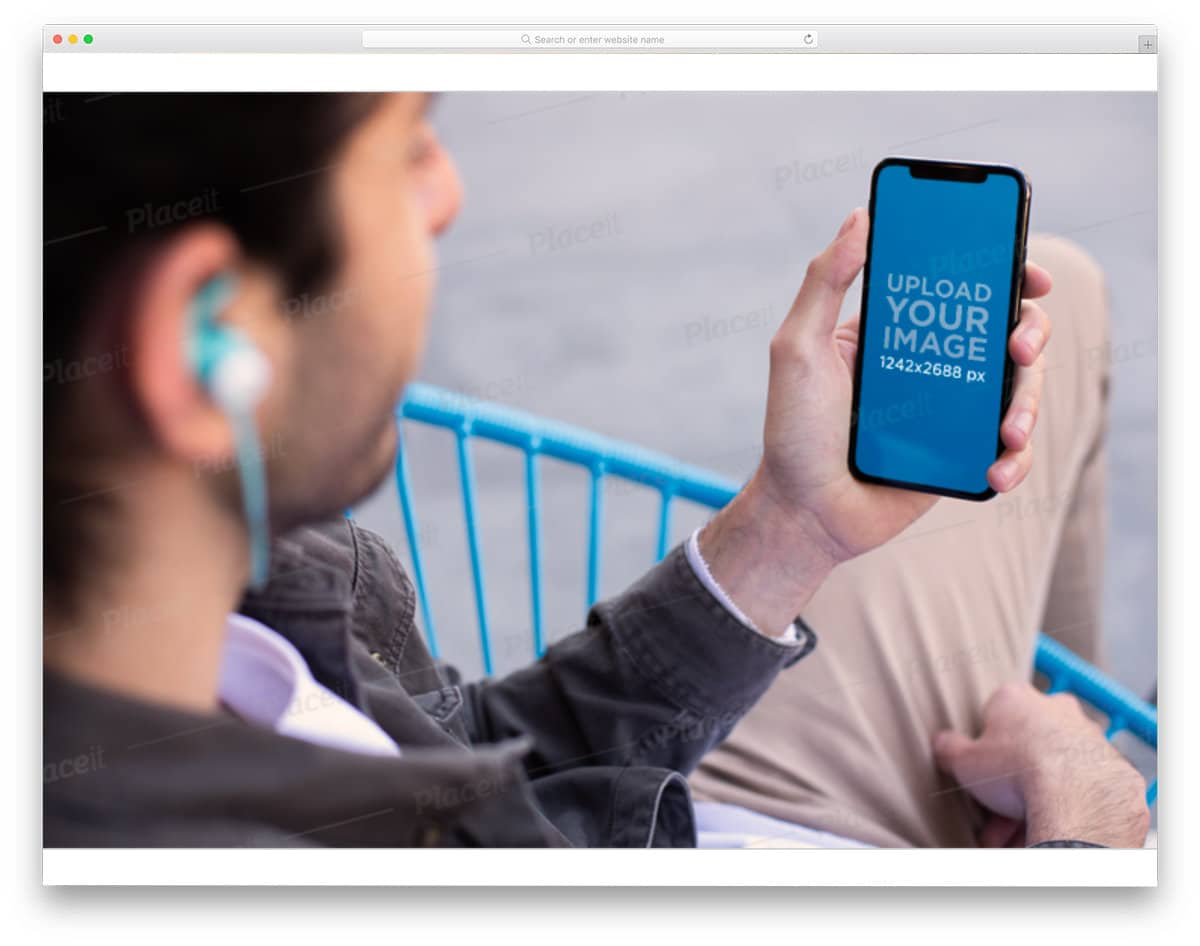 hand holding iPhone mockup for music and podcast apps