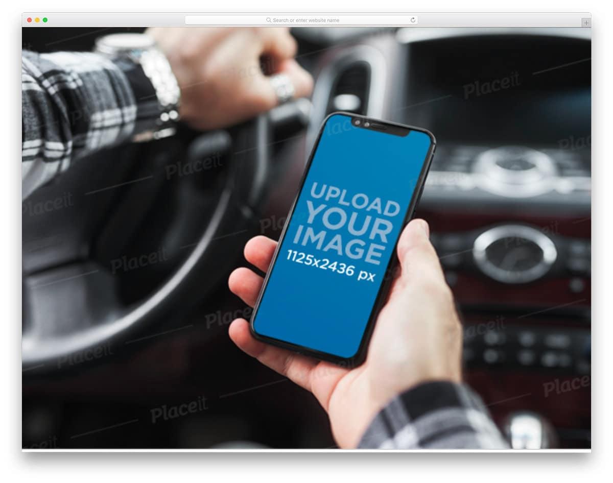 iphone 11 pro mockup inside a car