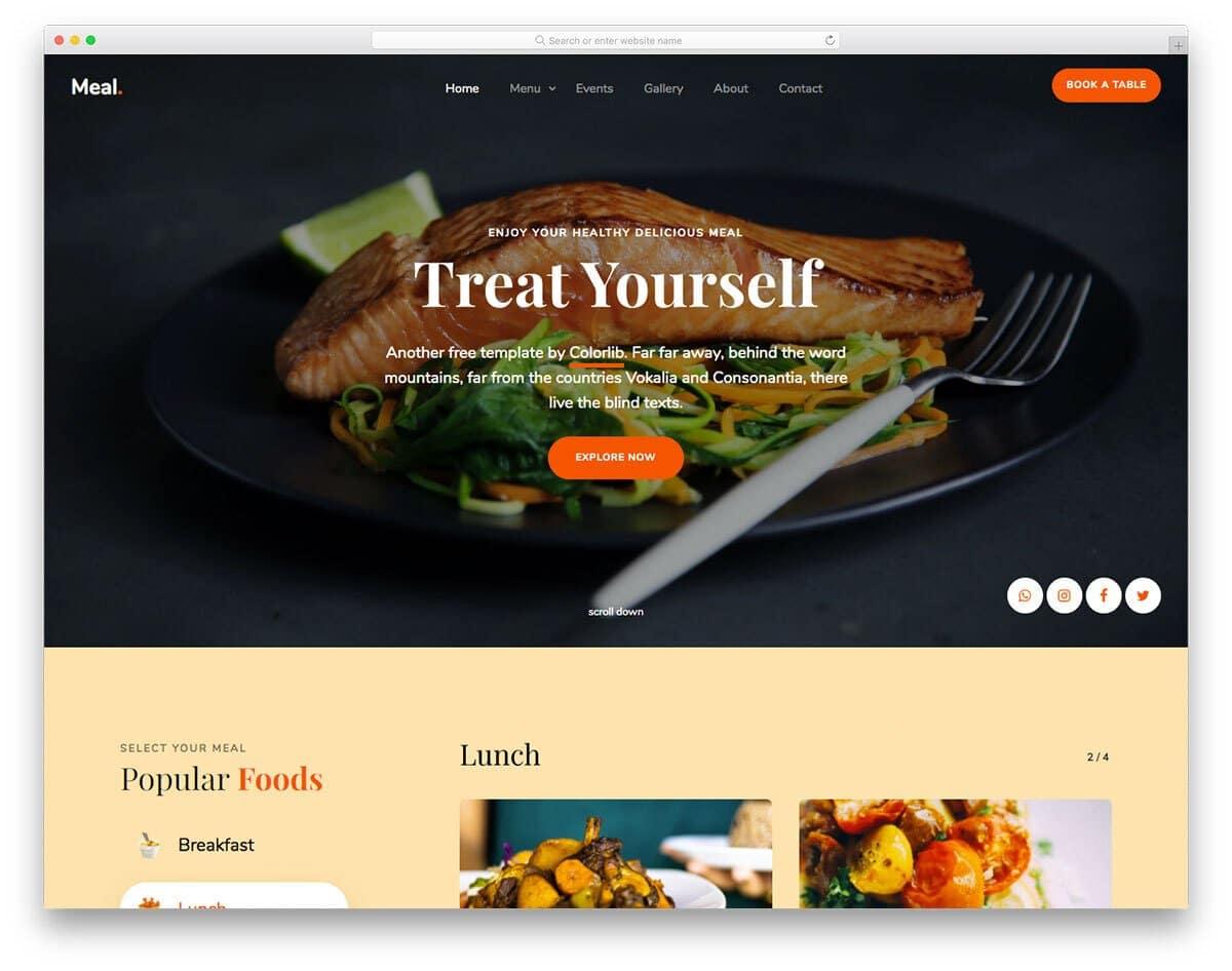 simple restaurant website template HTML code