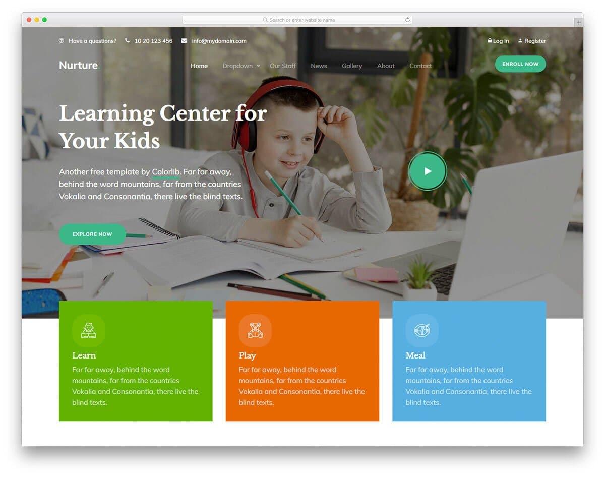 fun-to-use HTML kids school website template