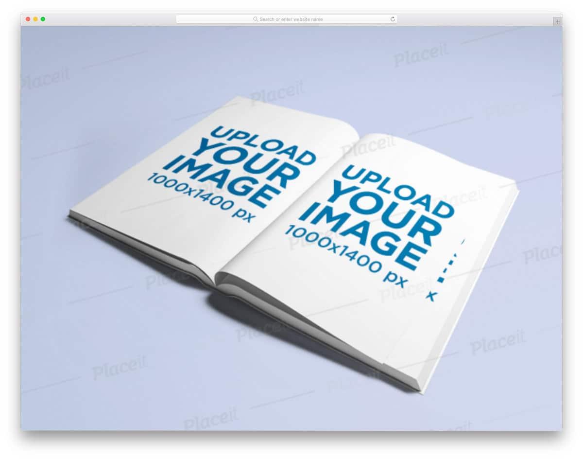 open book mockup generator