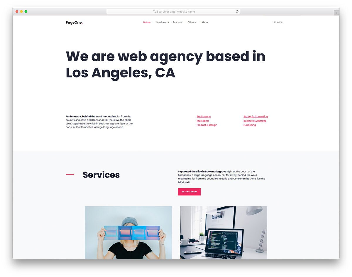 one page website template with HTML code