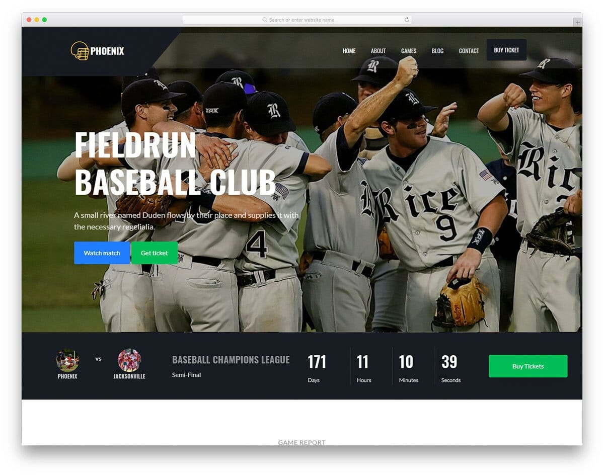 baseball game website template