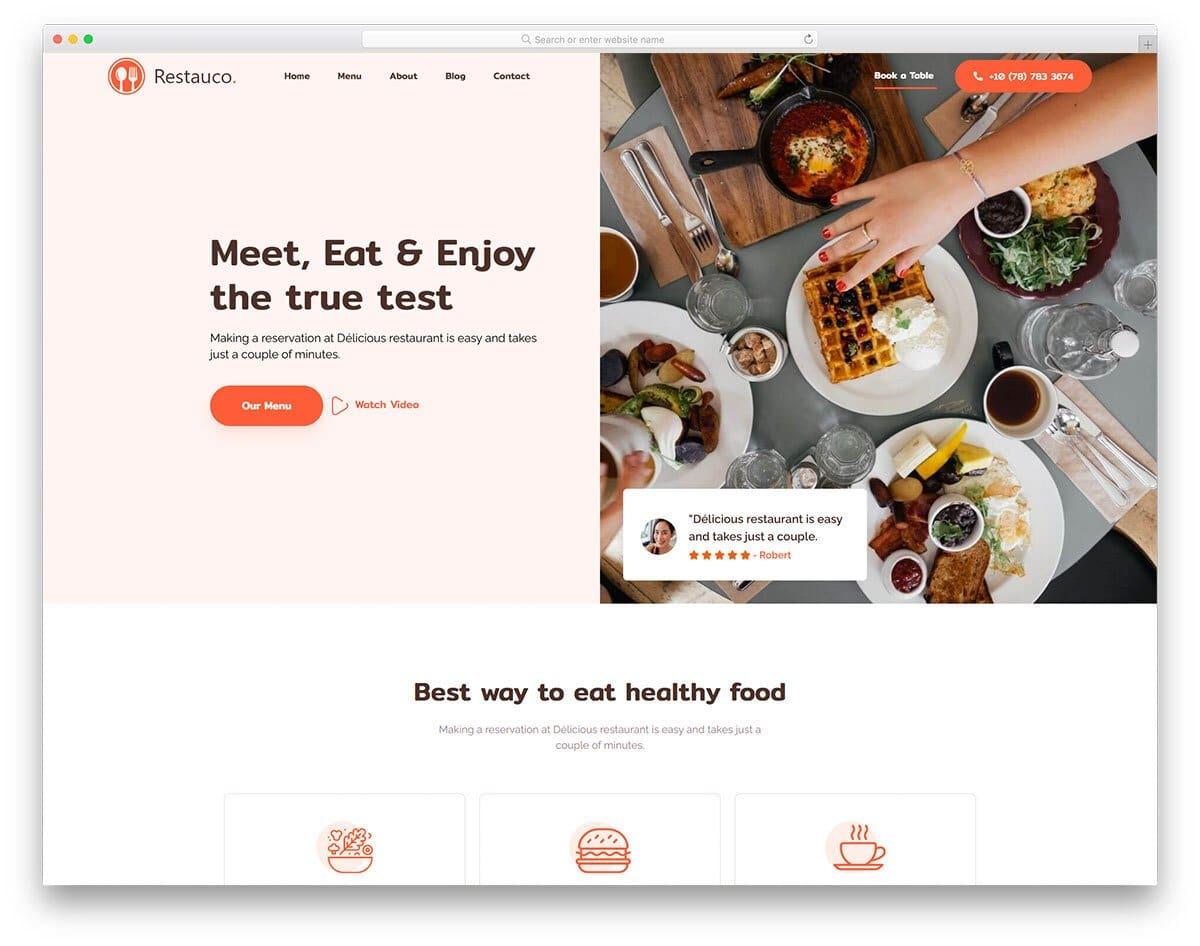 user-centric restaurant website template
