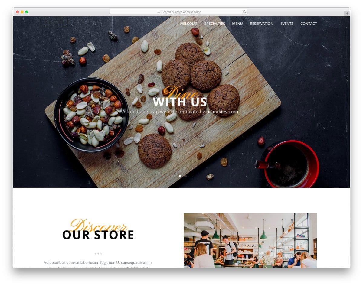 free bootstrap restaurant website template