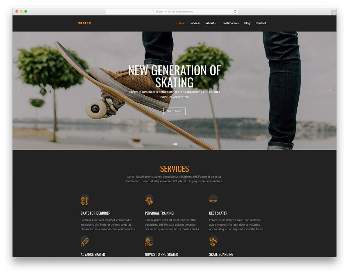 product one page website template