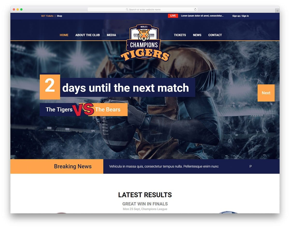 multipurpose sports website template