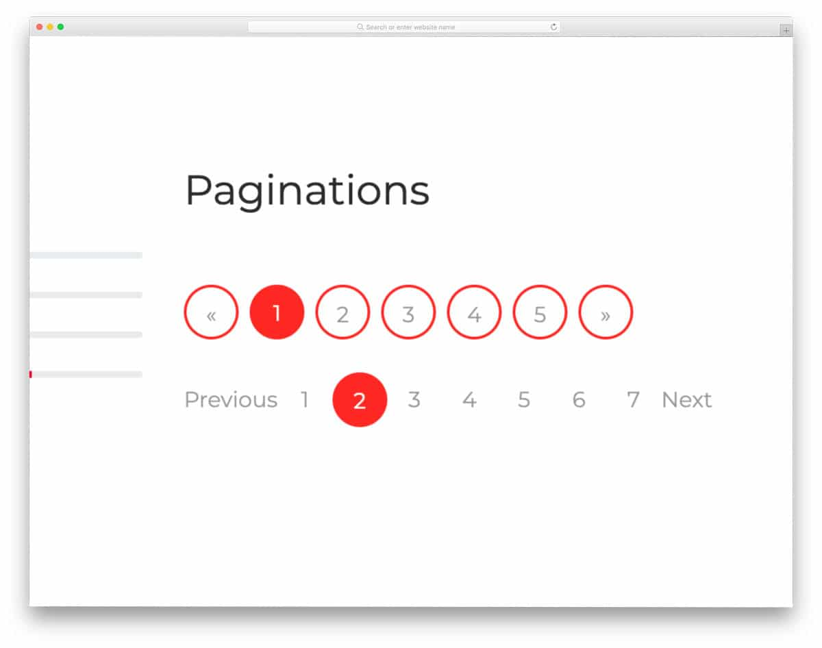 pagination CSS Bootstrap design example