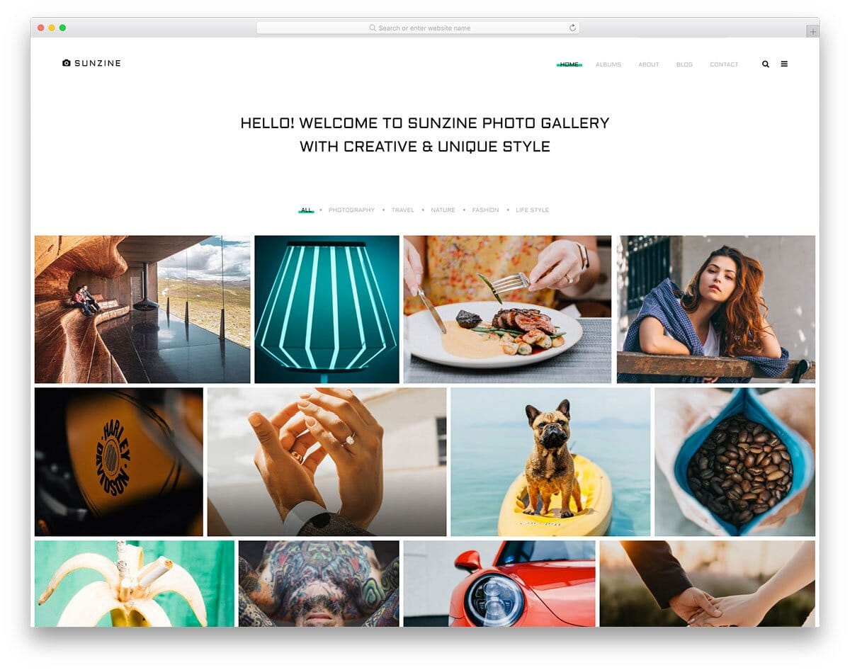 photo gallery style photography website template