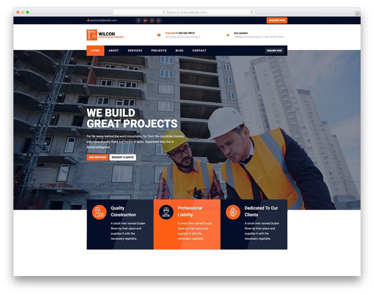 professional-looking construction website template