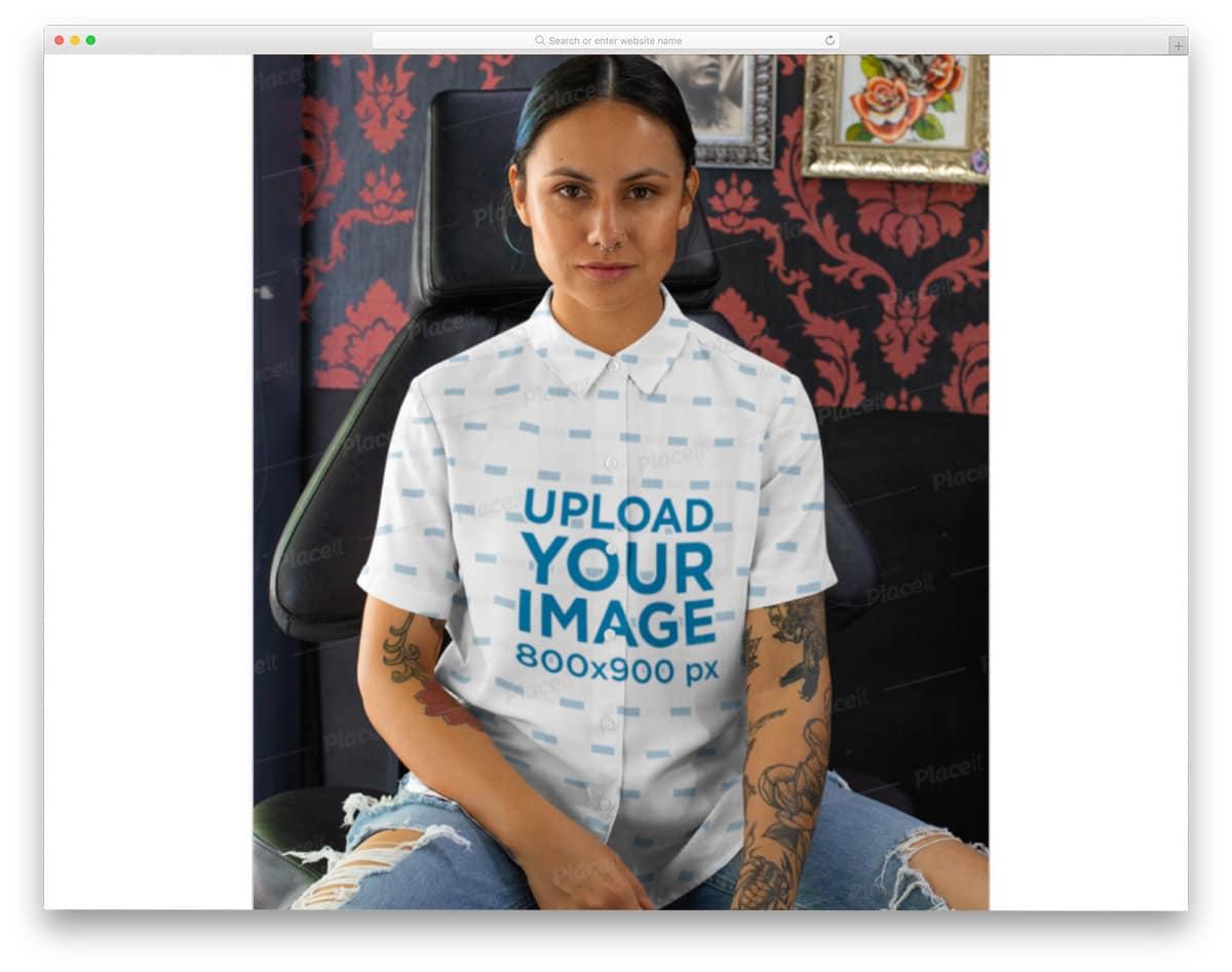 button up woman shirt mockup
